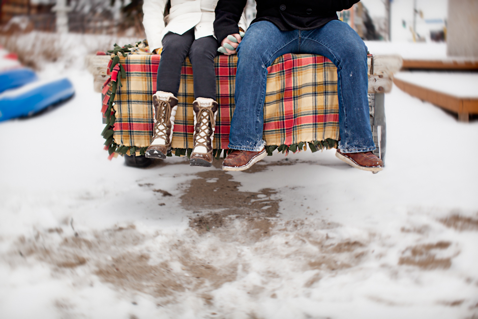 """Lake Calhoun"" , MN, Uptown, Engagement, Winter, Snow, Deck, Boots, Plaid"