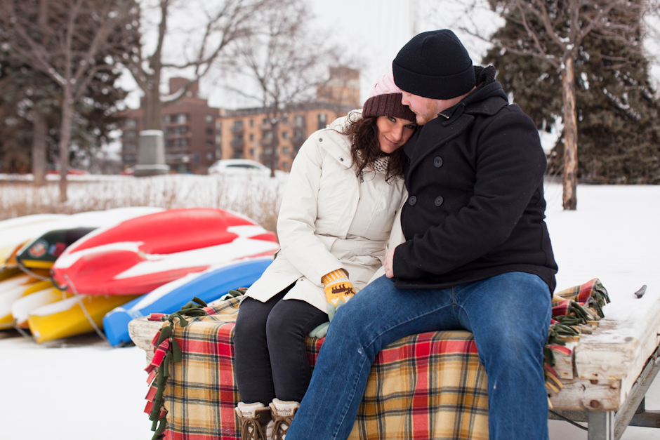"""Lake Calhoun"" , MN, Uptown, Engagement, Winter, Snow, Canoe, Plaid, Blanket, Snuggle"