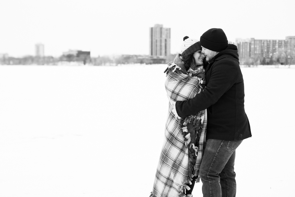 """Lake Calhoun"" , MN, Uptown, Engagement, Winter, Snow, Snuggle"