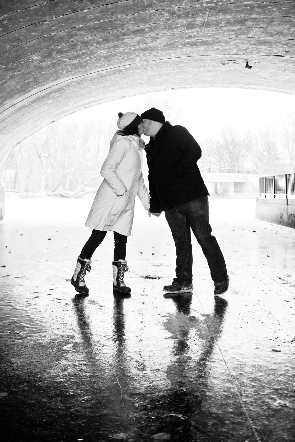 """Lake Calhoun"", MN, Uptown, Engagement, Snow, Winter, Ice, Bridge, Kiss, Black, White, ""Black and White"", BW, Minneapolis"