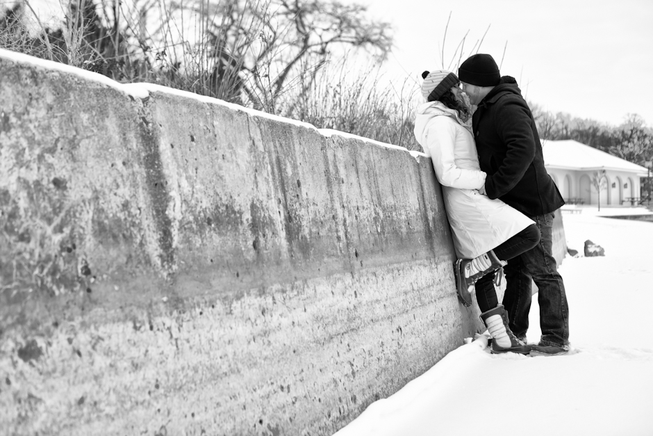 """Lake Calhoun"" , MN, Uptown, Engagement, Winter, Snow, Kiss"