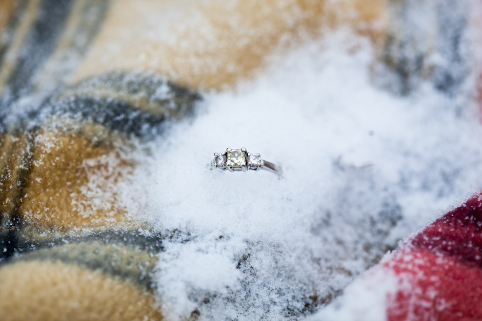 Engagement, Ring, Yellow, Diamond, Three, Plaid, Snow, Cold