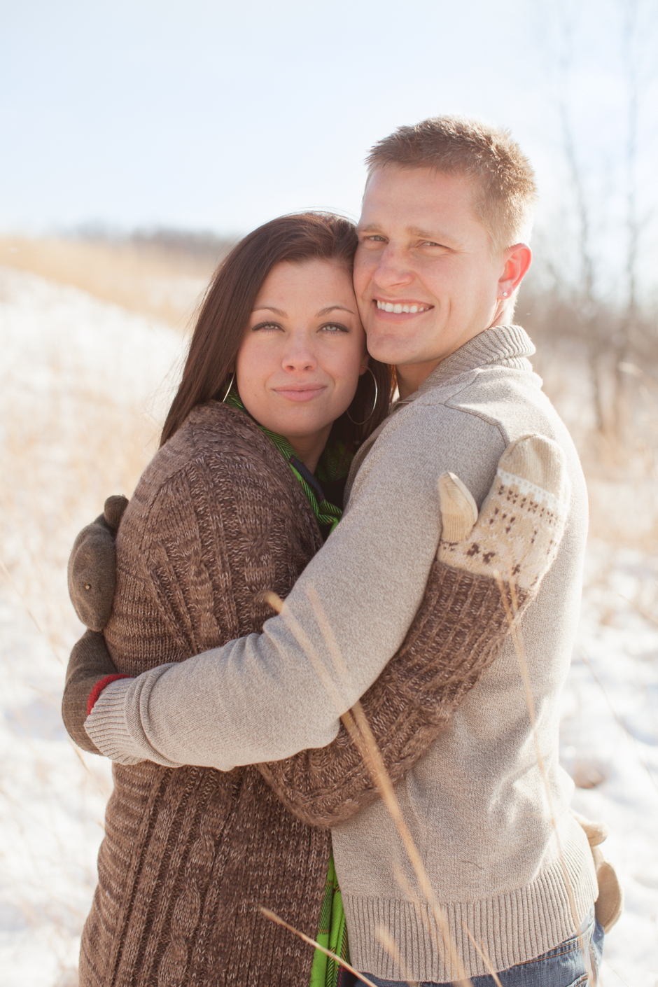 "Emily, Jim, James, Engaged, ""Richardson Nature Center"", Bloomington, Photos, Images, Park, Winter, Snow, Snowy, Grass, ""Tall Grass"", ""Golden Grass"", MN, Minnesota, ""Jessica Hannon Photography"", ""fotofilm studios"","