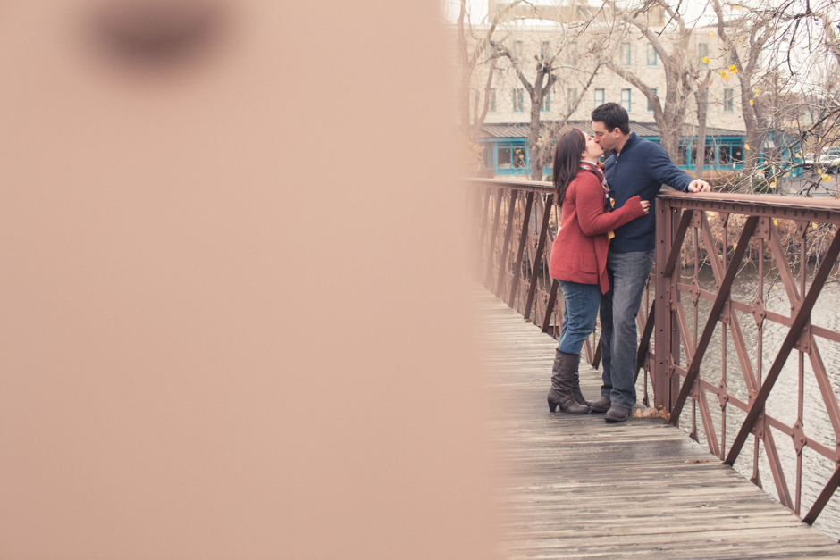"Callie, Mike, Engaged, Engagement, ""St. Anthony Main"", Minneapolis, Couple, Kiss"
